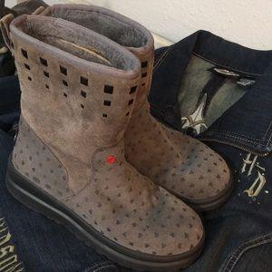 Cute Ugg Studded Boot Grey Heart Rock Roll Studs 6